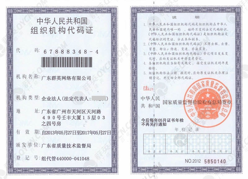 广东群英组织机构代码证(正本)