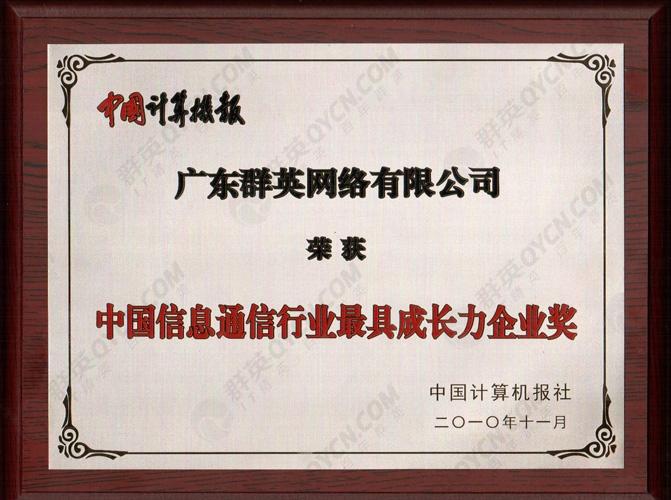 中国信息通信行业最具成长力企业奖