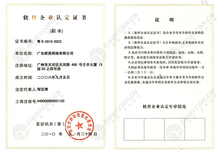 软件企业认定证书 (副本)